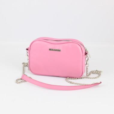 Mała skórzana różowa torebka na łańcuszku-skóra
