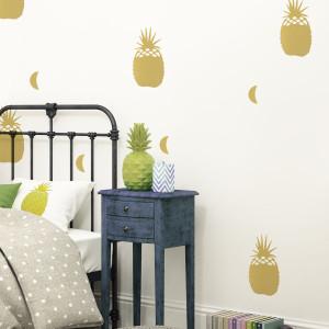 Naklejki ścienne Pineapples - złote