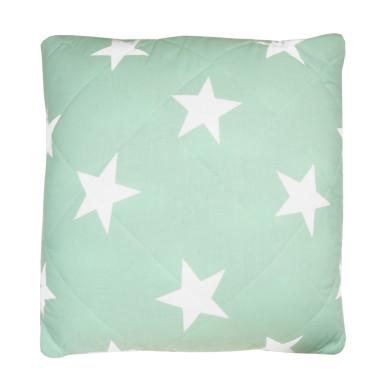 Poduszka pikowana gwiazdy na miętowym - chmurki na szarym