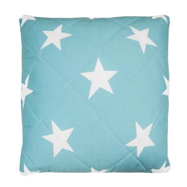 Poduszka pikowana gwiazdy na szarym-na turkusowym