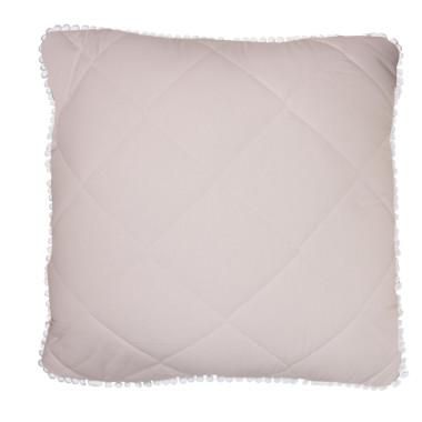 Poduszka pikowana szaro - różowa z pomponikami