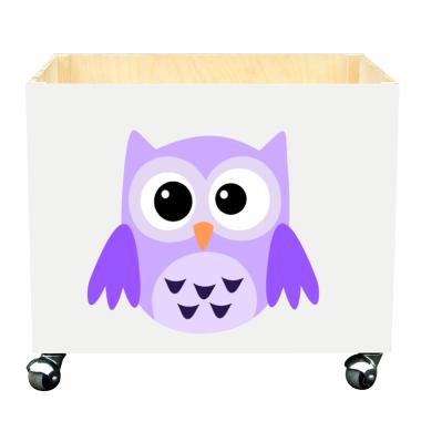 Skrzynka na zabawki do pokoju dziecka- fioletowa sowa