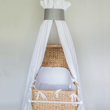 Milky Grey - baldachim do łóżeczka niemowlęcego