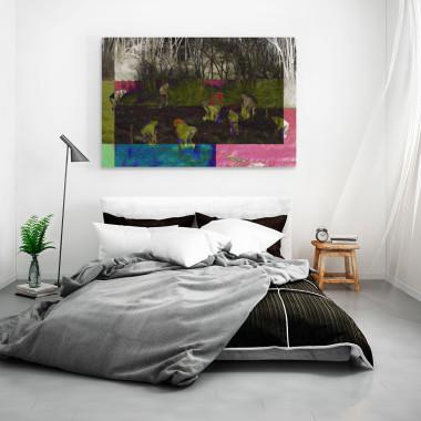 Złote żniwa - nowoczesny obraz do sypialni