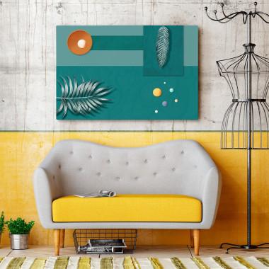 Gra w zielone - nowoczesny obraz do salonu