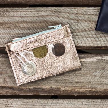 MIKRO + minimalistyczny portfel/wizytownik ze skóry