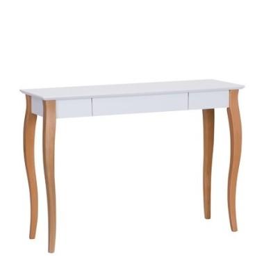 Minimalistyczne, funkcjonalne biurko z dyskretną szufladą idealnie pasuje do domowego biura.