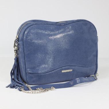 Modna, elegancka niebieska skórzana torebka na ramię