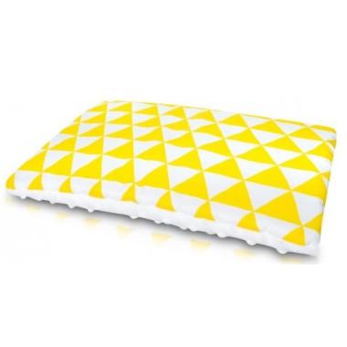 "Płaska Poduszka Minky ""YellowGeometric"""