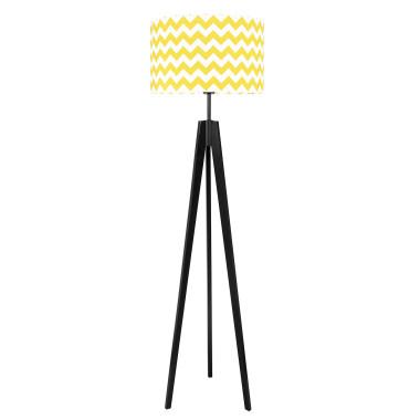 youngDECO lampa podłogowa trójnóg czarny chevron żółty