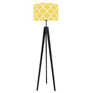 youngDECO lampa podłogowa trójnóg czarny koniczyna marokańska żółta