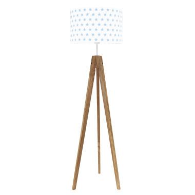 youngDECO lampa podłogowa trójnóg dębowy gwiazdki błękitne