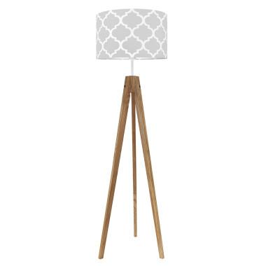 youngDECO lampa podłogowa trójnóg dębowy koniczyna marokańska szara