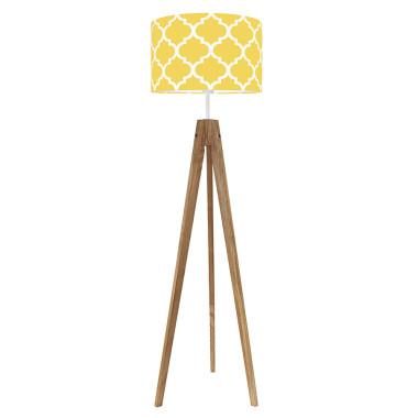 youngDECO lampa podłogowa trójnóg dębowy koniczyna marokańska żółta