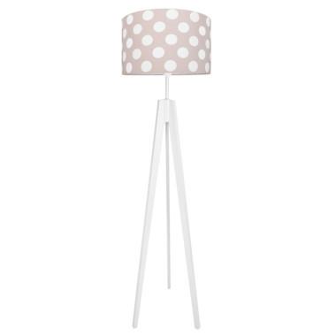 Lampa podłogowa sztalugowa do pokoju dziecięcego różowa w grochy