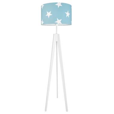 Lampa podłogowa sztalugowa do pokoju dziecięcego turkusowa w gwiazdki
