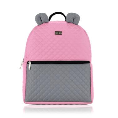 FARBIŚ - plecak dziecięcy pikowany dla dziewczynki szaro-różowy