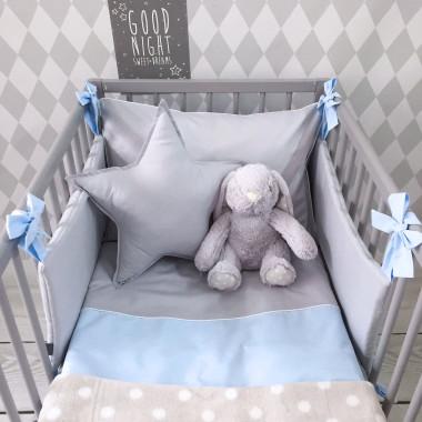 Szaro-niebieska pościel dla dzieci i niemowląt