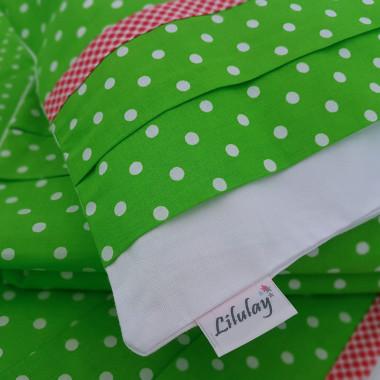 Pościel dziecięca z zakładką z zielonej bawełny w białe kropeczki