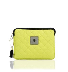 Limonkowy pikowany portfel damski zamykany na zamek