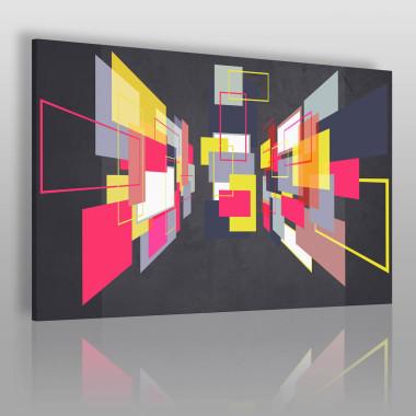 Motywy geometryczne w pastelowych kolorach. Taki obraz pasuje do gabinetu, sypialni, salonu.