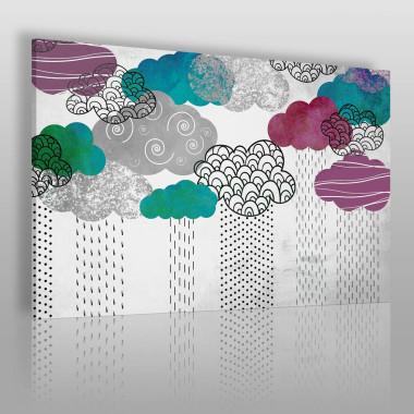 Kompozycja graficzna z chmurami. Motywy geometryczne w pastelowych kolorach.