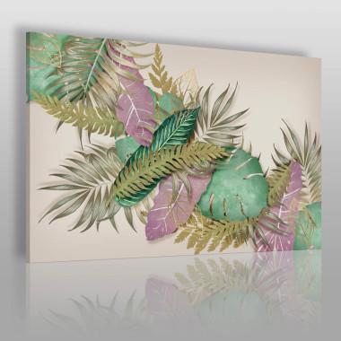 Nowoczesna kompozycja. Motywy roślinne w pastelowych kolorach.