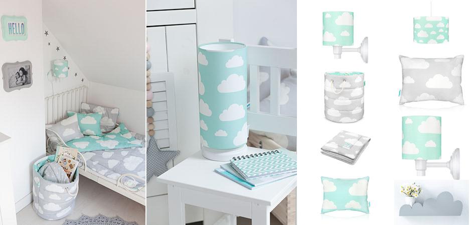 chmurki-kolekcja lamp pościeli dla dzieci