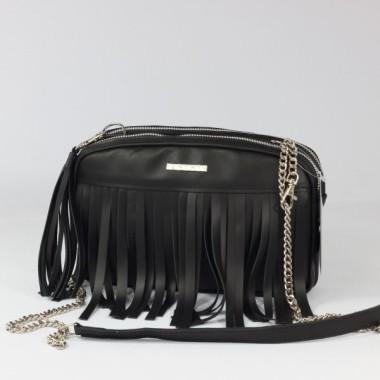 Czarna skórzana torebka z frędzlami na ramię ze srebrnym łańcuszkiem