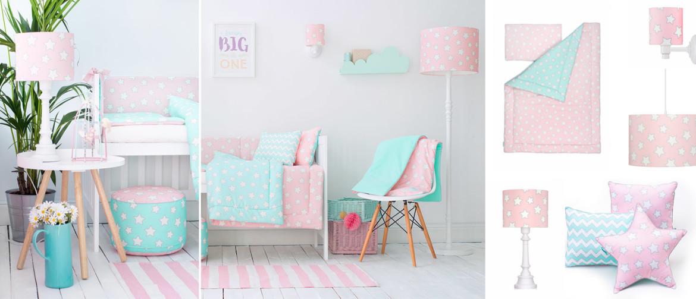 pink stars - kolekcja lamp i pościeli dla dzieci