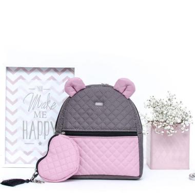 FARBIŚ - plecak dziecięcy dla dziewczynki pikowany rożowo-szary