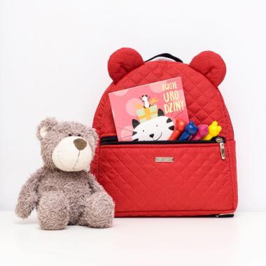 FARBIŚ - plecak dziecięcy  pikowany w kolorze czerwonym