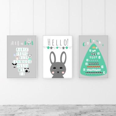 Zestaw 3 plakatów do pokoju dziecka