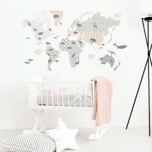 Naklejka ścienna do pokoju dziecka- mapa edukacyjna.