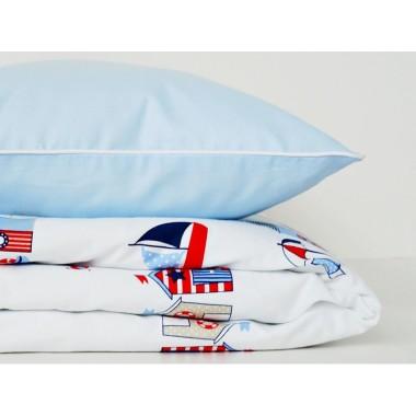 Pościel dziecięca biało-niebieska w stylu marynistycznym, 120x90 oraz 135x100