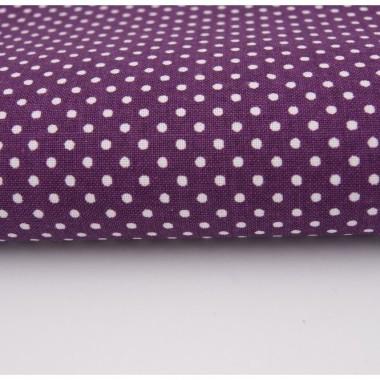 Śliwkowy kolor w drobne kropeczki na bawełnianej tkaninie. Idealna do aranżacji okna w stylu klasycznym czy glamour.