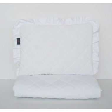 Pikowany biały zestaw: poduszeczka z falbanką oraz kocyk - do wózka, kołyski, do przedszkola