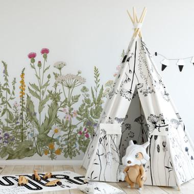 Dekoracja wesoła i kolorowa. Idealna do zabezpieczenia w pokoju dziecka ściany za łóżeczkiem, przewijakiem.