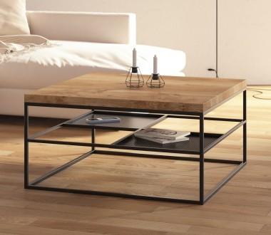 Nowoczesny kwadratowy stolik kawowy / ława do salony w stylu industrialnym, skandynawskim. Czarna metalowa podstawa i drewniany dębowy blat.