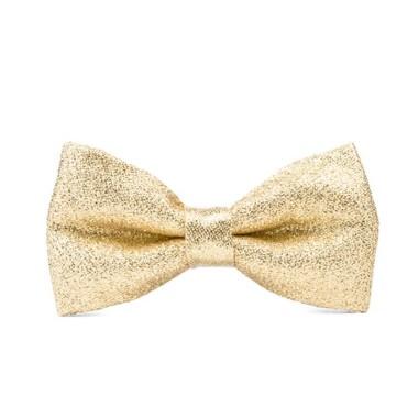 Złota uroczysta muszka w stylu glamour.