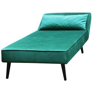 Elegancka aksamitna leżanka wypoczynkowa. Mebel idealny do salonu, sypialni lub butiku. Kolor zielony.