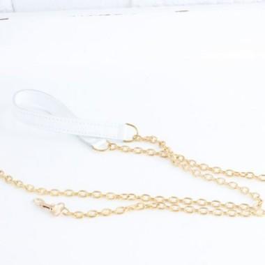 Łańcuszek złoty do torebki z elementem skórzanym