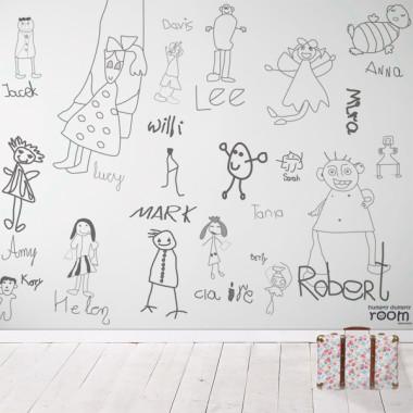 Przyjaciele - mural. Tapeta do pokoju dziecka.