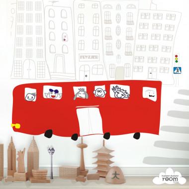 Szkolny Autobus - mural. Tapeta do pokoju dziecka