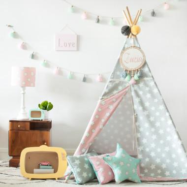 Tipi Pink & Grey Stars