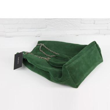 Torebka - Worek na łańcuszku butelkowa zieleń