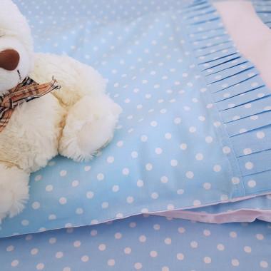 Zestaw z błękitnej bawełny w białe kropeczki - pościel dziecięca