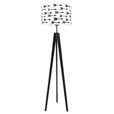 Lampa podłogowa czarny trójnóg z bialym abażurem w strzałki
