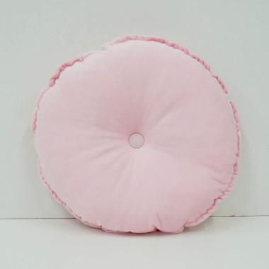 Okrągła aksamitna poduszka dla dzieci pudrowy róż