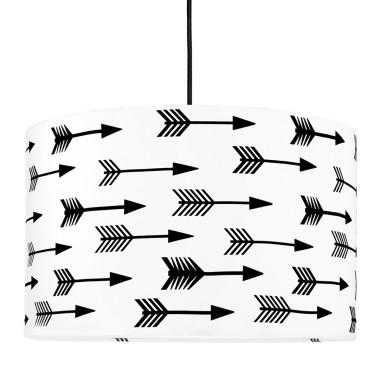 Lampa sufitowa z abażurem w stylu skandynawskim - biała w czarne strzałki